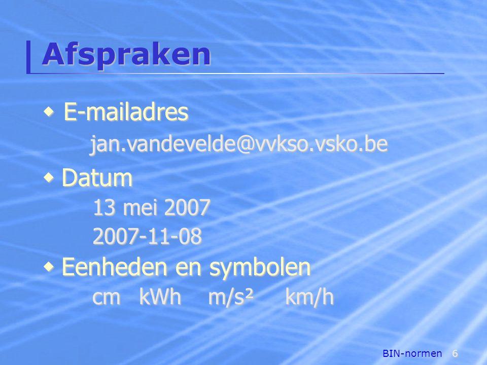 BIN-normen6 Afspraken  Datum 13 mei 2007 2007-11-08  Eenheden en symbolen cmkWh m/s²km/h  E-mailadres jan.vandevelde@vvkso.vsko.be