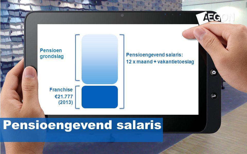 12 Pensioengevend salaris Franchise €21.777 (2013) Pensioengevend salaris: 12 x maand + vakantietoeslag Pensioen grondslag