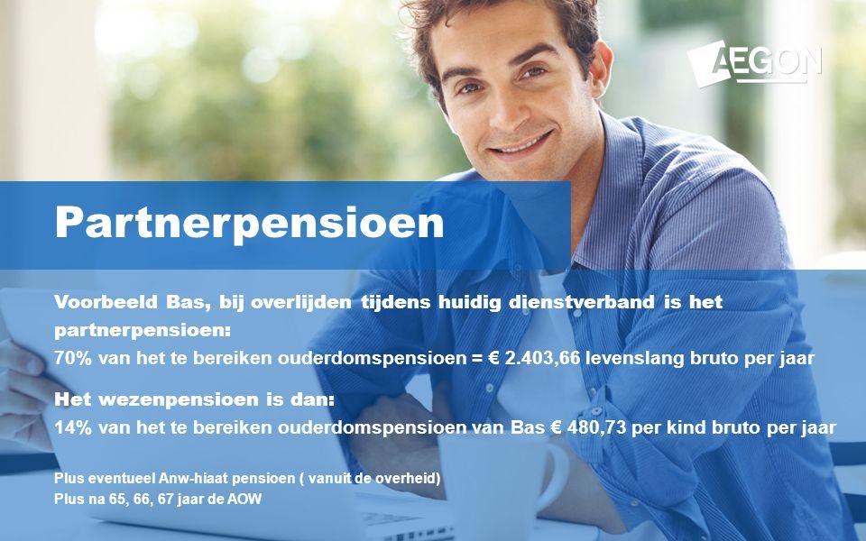 15 Partnerpensioen Voorbeeld Bas, bij overlijden tijdens huidig dienstverband is het partnerpensioen: 70% van het te bereiken ouderdomspensioen = € 2.