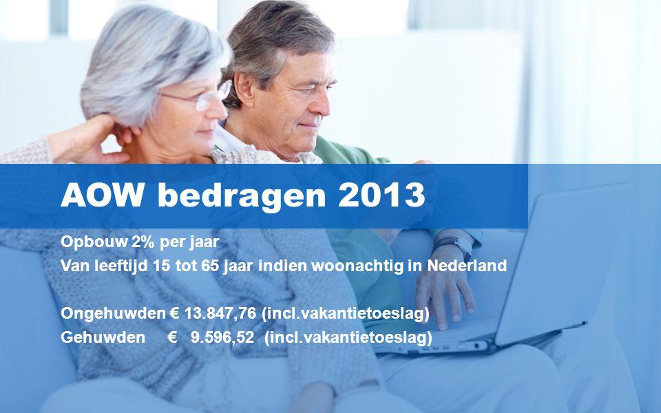 4 AOW bedragen 2013 Opbouw 2% per jaar Van leeftijd 15 tot 65 jaar indien woonachtig in Nederland Ongehuwden € 13.847,76 (incl.vakantietoeslag) Gehuwd