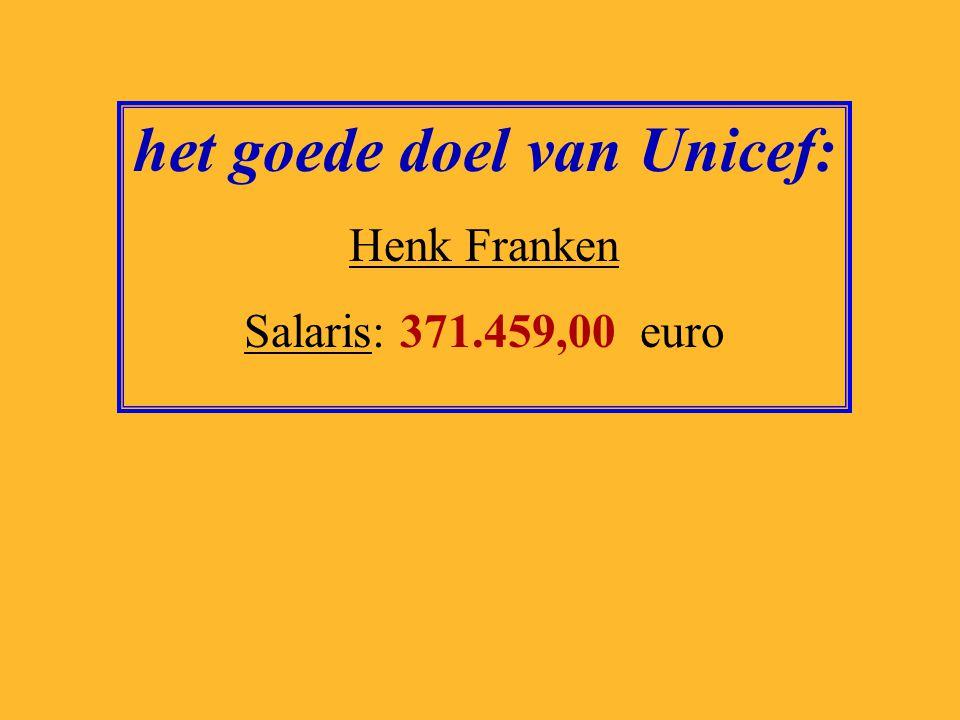 het goede doel van Unicef: Henk Franken Salaris: 371.459,00 euro