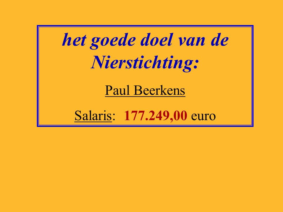 het goede doel van Woord en Daad: Jan Lock Salaris: 125.361,00 euro