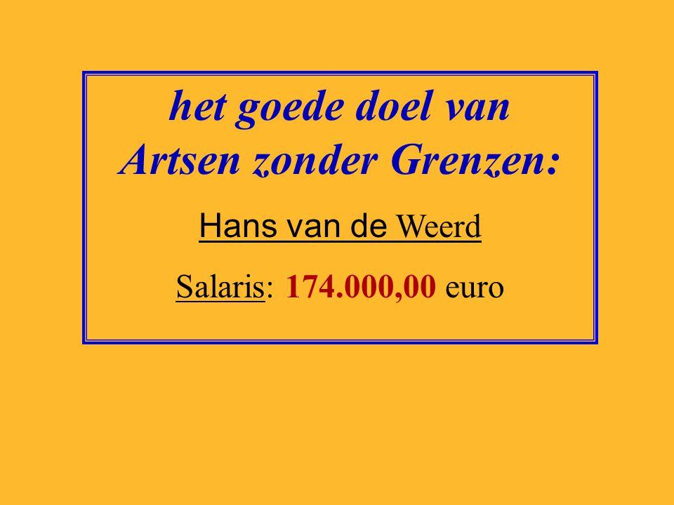 het goede doel van Terres des Hommes: Ron van Huizen Salaris: 117.440,00 euro
