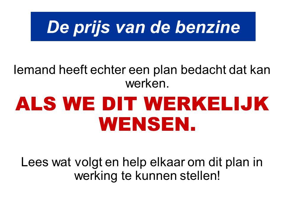 De prijs van de benzine Vandaag wordt de benzine verkocht voor € 1,45 per liter voor de euro loodvrij Wij weten allemaal dat we in het ootje genomen worden door de olie-maatschappijen.