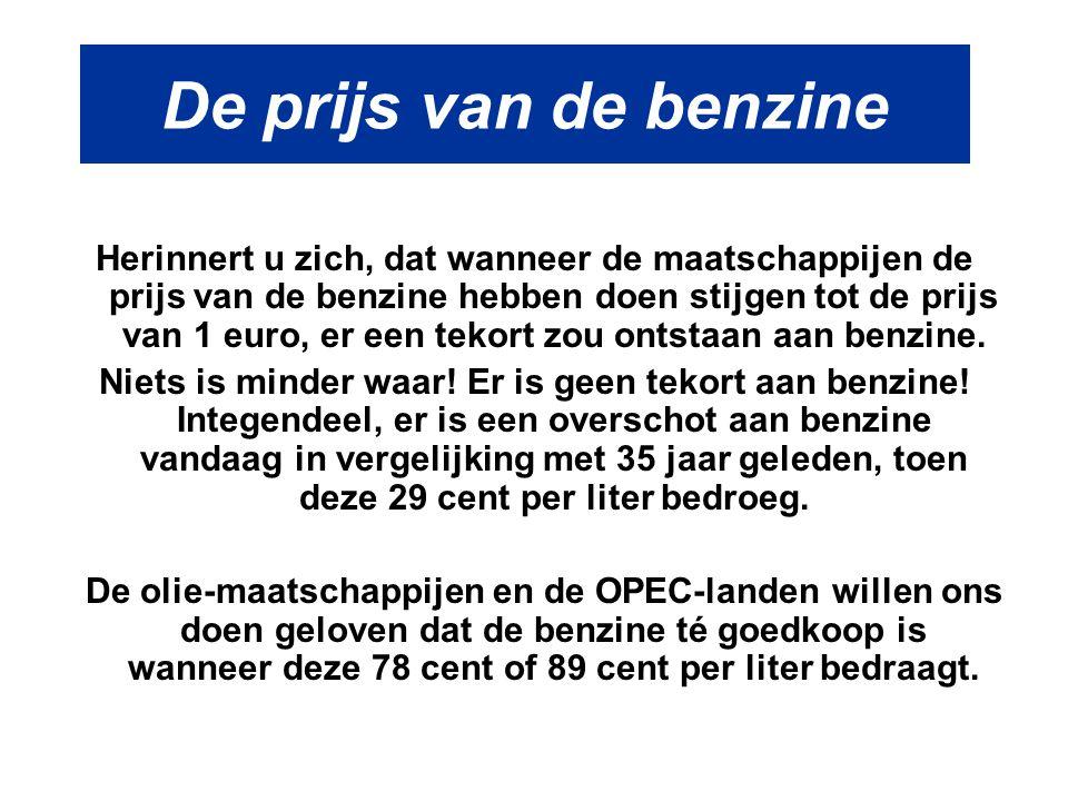 De prijs van de benzine Herinnert u zich, dat wanneer de maatschappijen de prijs van de benzine hebben doen stijgen tot de prijs van 1 euro, er een te