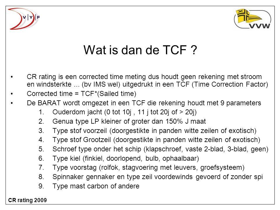 CR rating 2009 Wat is dan de TCF .