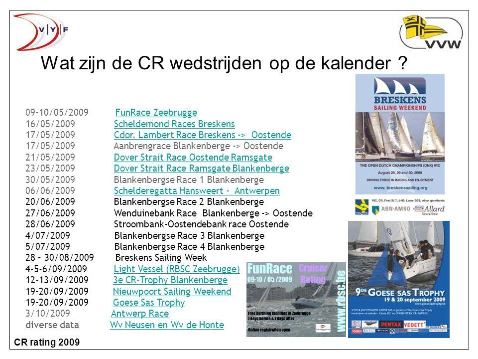 CR rating 2009 Wat zijn de CR wedstrijden op de kalender .