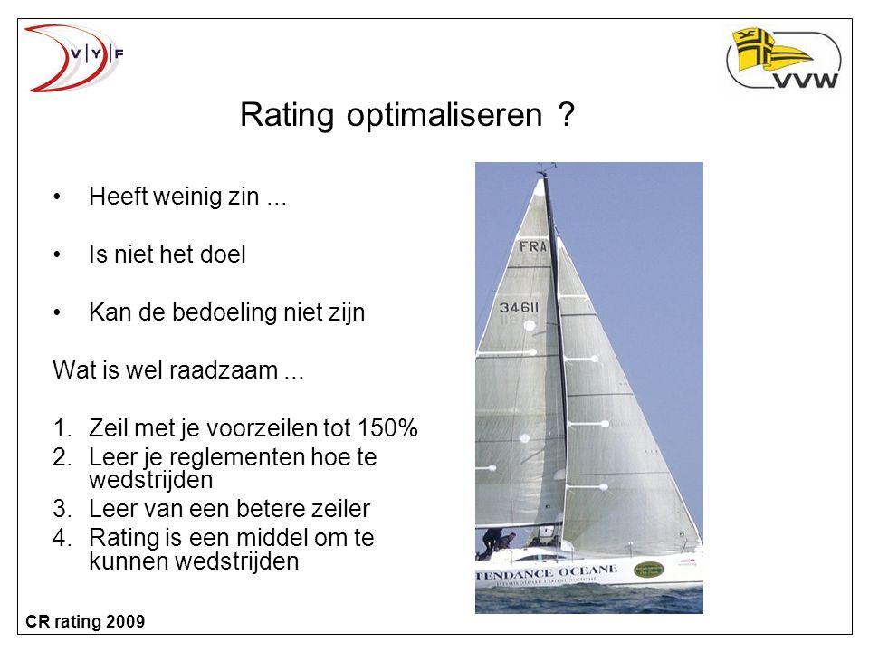 CR rating 2009 Rating optimaliseren .•Heeft weinig zin...