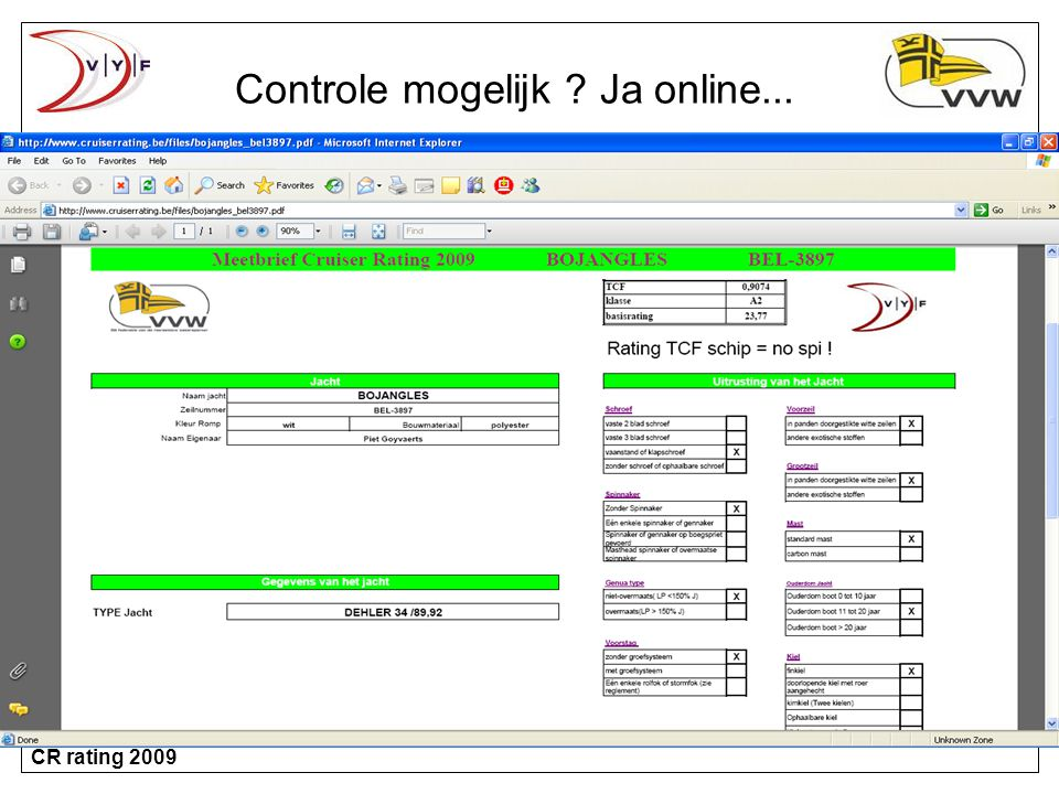 CR rating 2009 Controle mogelijk ? Ja online...
