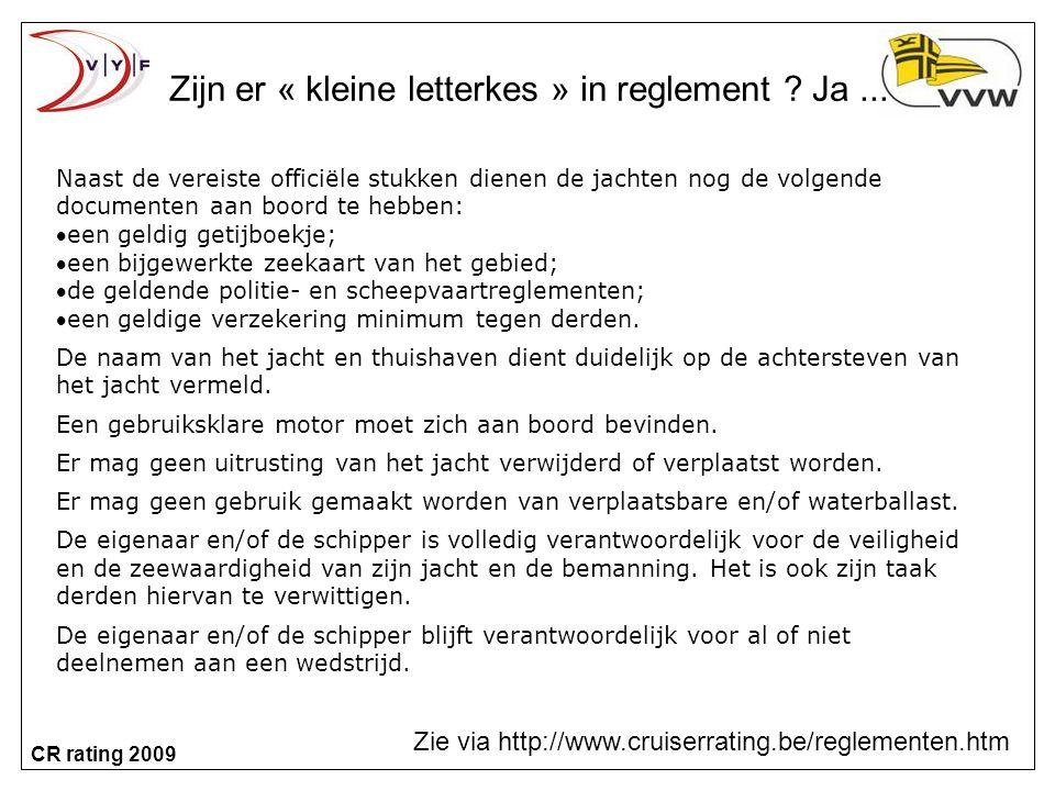 CR rating 2009 Zijn er « kleine letterkes » in reglement .