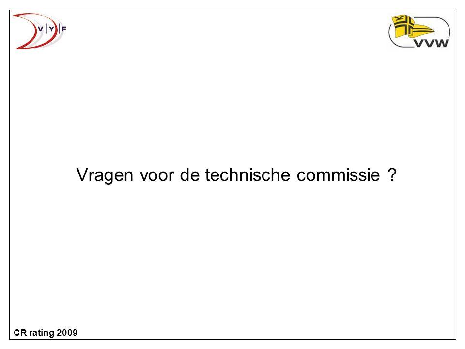 CR rating 2009 Vragen voor de technische commissie ?