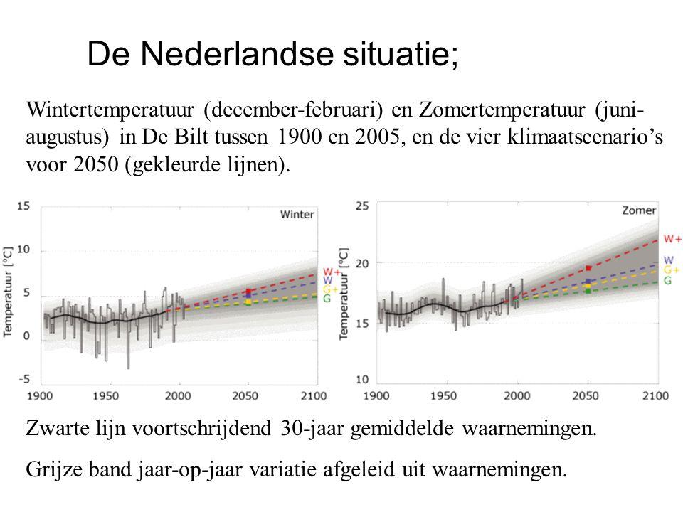 Zwarte lijn voortschrijdend 30-jaar gemiddelde waarnemingen. Grijze band jaar-op-jaar variatie afgeleid uit waarnemingen. Wintertemperatuur (december-