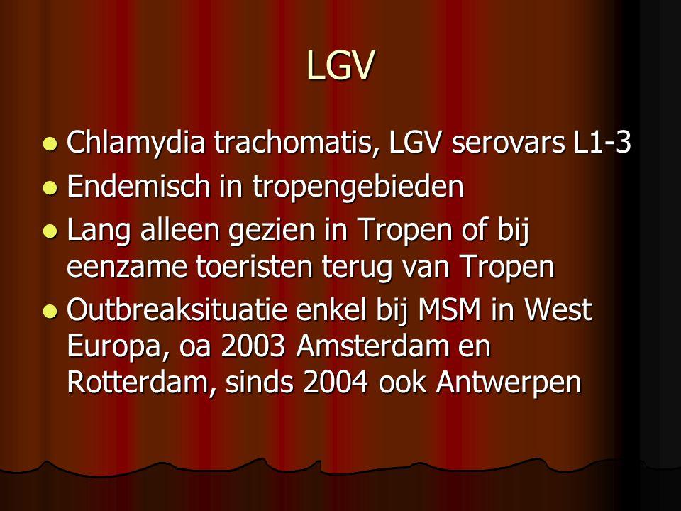LGV  Chlamydia trachomatis, LGV serovars L1-3  Endemisch in tropengebieden  Lang alleen gezien in Tropen of bij eenzame toeristen terug van Tropen  Outbreaksituatie enkel bij MSM in West Europa, oa 2003 Amsterdam en Rotterdam, sinds 2004 ook Antwerpen
