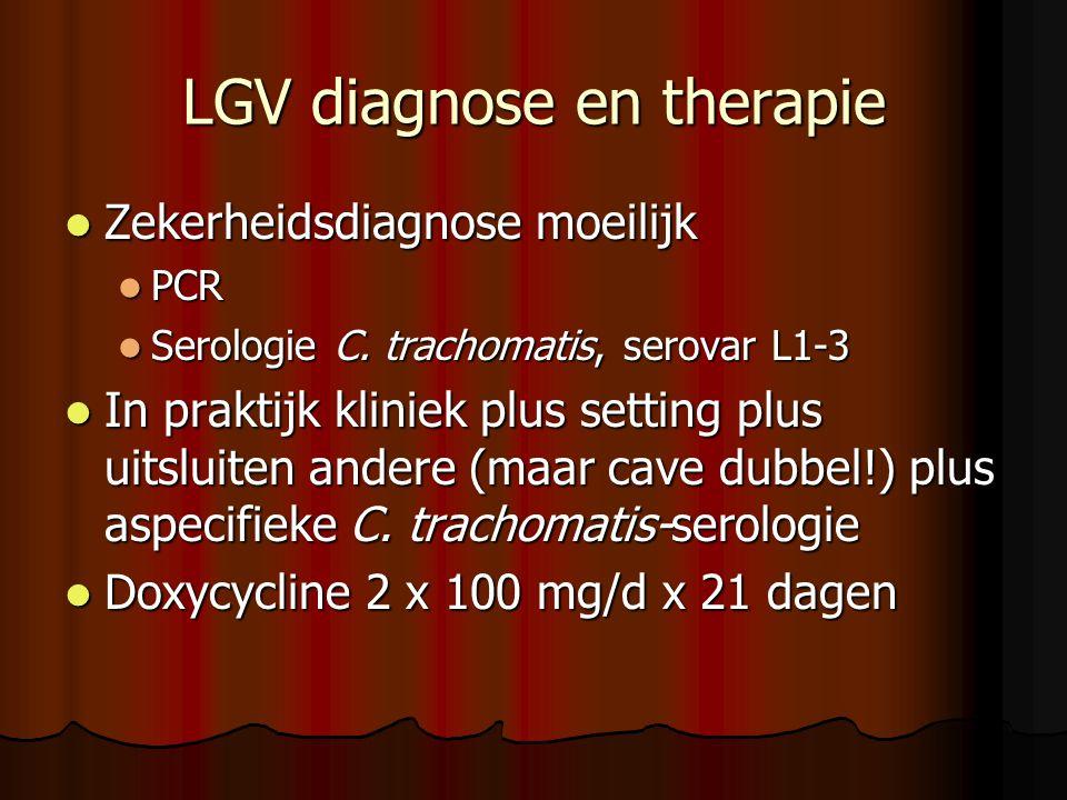 LGV diagnose en therapie  Zekerheidsdiagnose moeilijk  PCR  Serologie C. trachomatis, serovar L1-3  In praktijk kliniek plus setting plus uitsluit