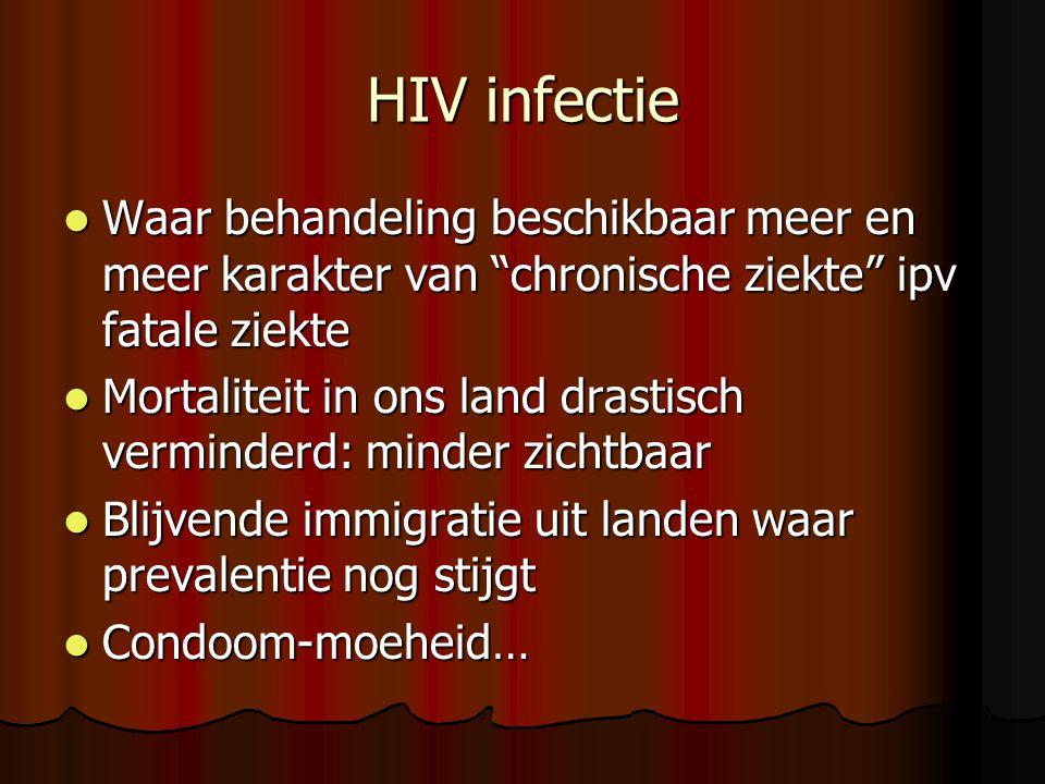 HIV infectie  Waar behandeling beschikbaar meer en meer karakter van chronische ziekte ipv fatale ziekte  Mortaliteit in ons land drastisch verminderd: minder zichtbaar  Blijvende immigratie uit landen waar prevalentie nog stijgt  Condoom-moeheid…