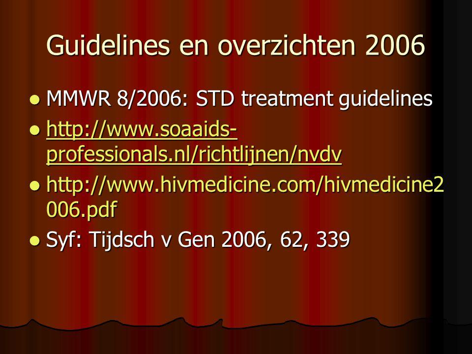 Guidelines en overzichten 2006  MMWR 8/2006: STD treatment guidelines  http://www.soaaids- professionals.nl/richtlijnen/nvdv http://www.soaaids- professionals.nl/richtlijnen/nvdv http://www.soaaids- professionals.nl/richtlijnen/nvdv  http://www.hivmedicine.com/hivmedicine2 006.pdf  Syf: Tijdsch v Gen 2006, 62, 339