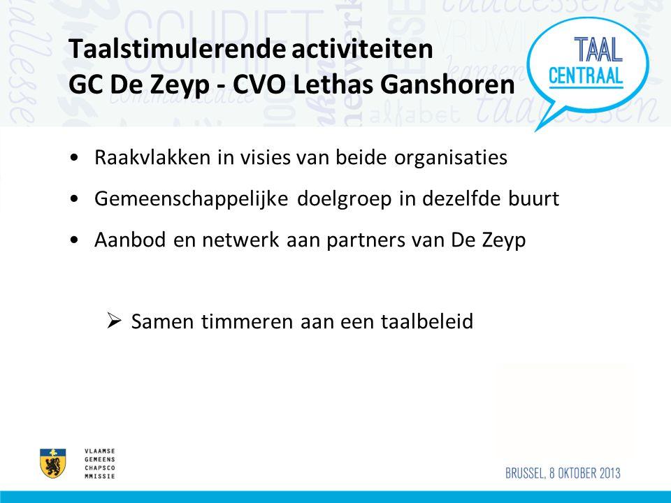 Taalstimulerende activiteiten GC De Zeyp - CVO Lethas Ganshoren •Raakvlakken in visies van beide organisaties •Gemeenschappelijke doelgroep in dezelfde buurt •Aanbod en netwerk aan partners van De Zeyp  Samen timmeren aan een taalbeleid