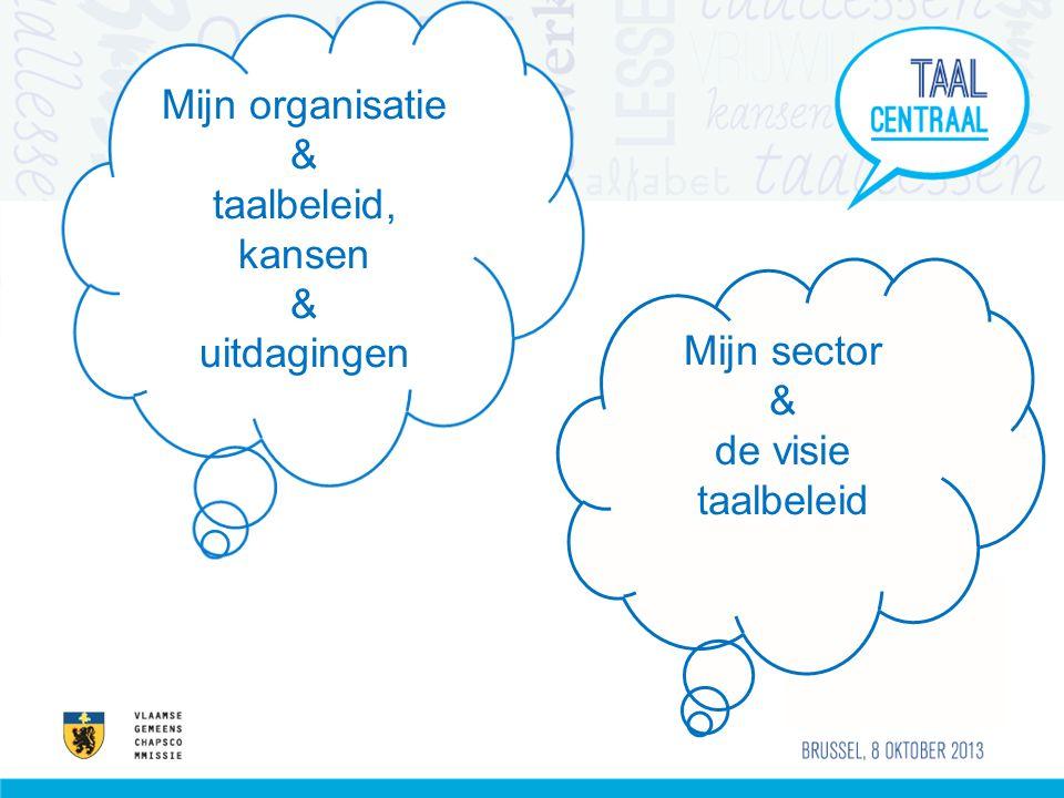 Mijn sector & de visie taalbeleid Mijn organisatie & taalbeleid, kansen & uitdagingen