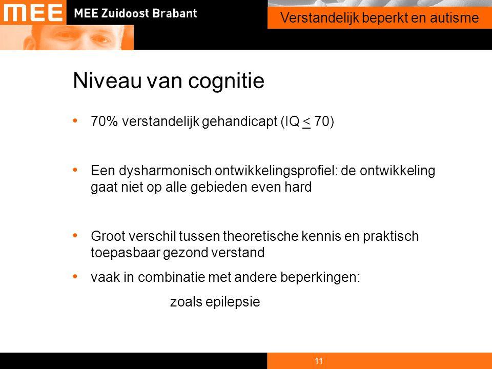 11 Onderwerp presentatie Volwassenen en autisme Verstandelijk beperkt en autisme • 70% verstandelijk gehandicapt (IQ < 70) • Een dysharmonisch ontwikk