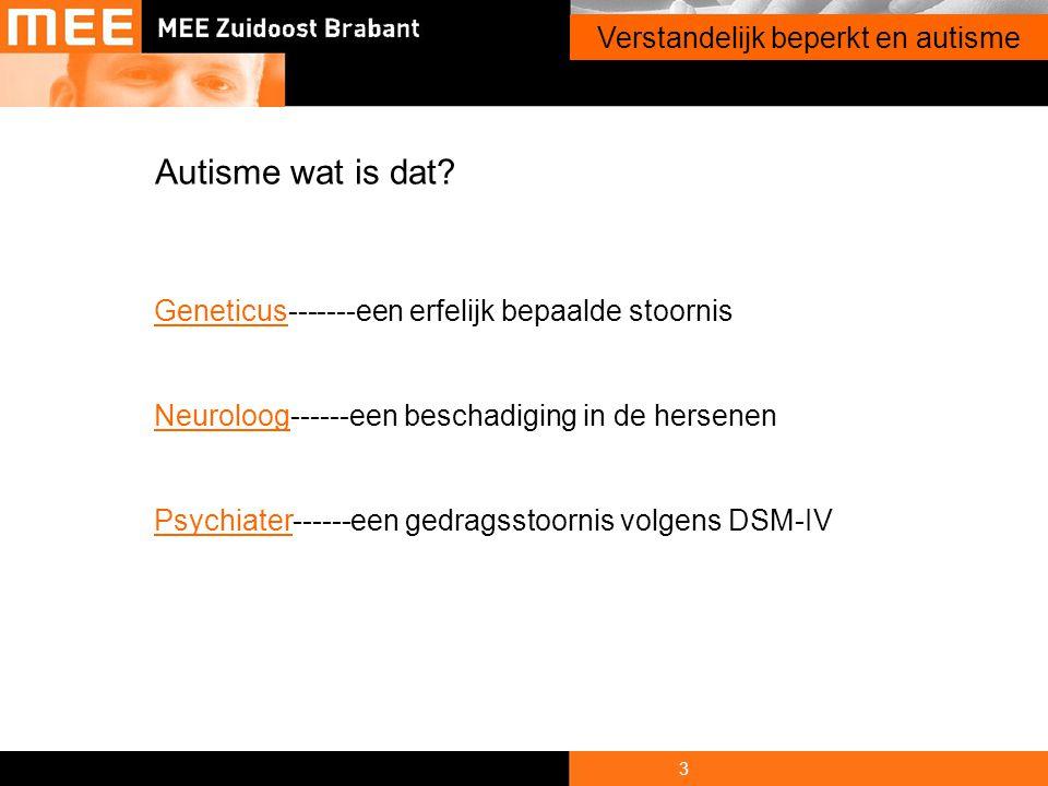 3 Onderwerp presentatie Autisme wat is dat? GeneticusGeneticus-------een erfelijk bepaalde stoornis NeuroloogNeuroloog------een beschadiging in de her
