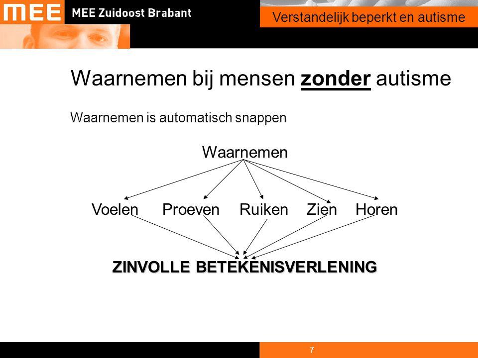 7 Onderwerp presentatie Waarnemen bij mensen zonder autisme Waarnemen is automatisch snappen Waarnemen Voelen Proeven Ruiken Zien Horen ZINVOLLE BETEK