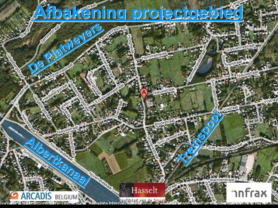 Afbakening projectgebied De Platweyers Albertkanaal Treinspoor