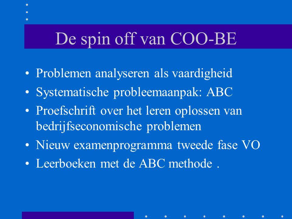 De spin off van COO-BE •Problemen analyseren als vaardigheid •Systematische probleemaanpak: ABC •Proefschrift over het leren oplossen van bedrijfsecon