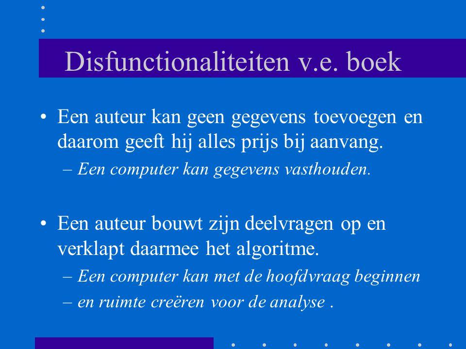 Disfunctionaliteiten v.e. boek •Een auteur kan geen gegevens toevoegen en daarom geeft hij alles prijs bij aanvang. –Een computer kan gegevens vasthou
