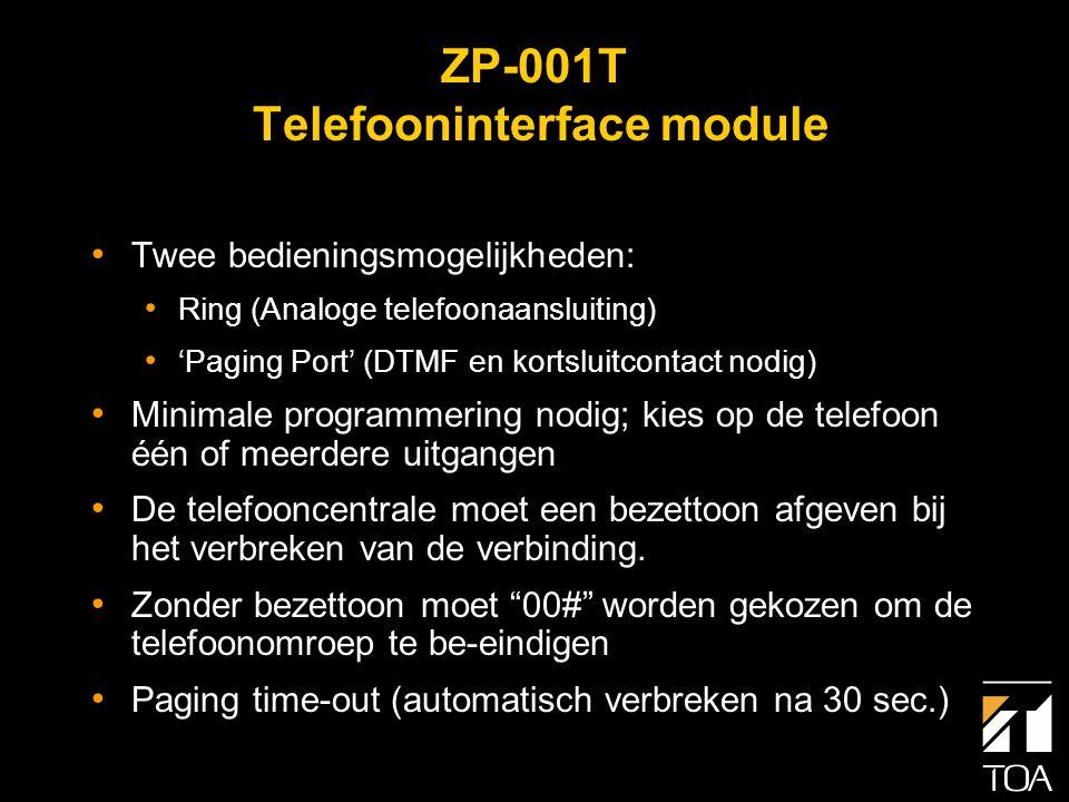 ZP-001T Telefooninterface module • Vier contactuitgangen • Alleen beschikbaar in de nieuwe Matrix sub-modes • Bedoeld voor o.a.