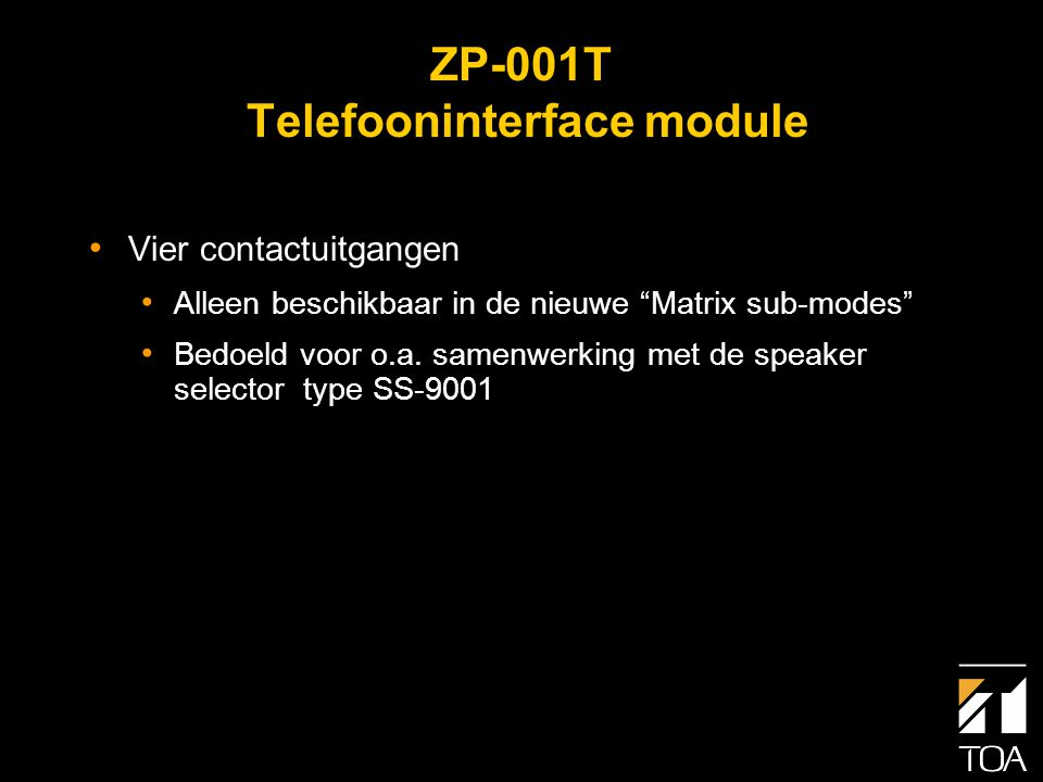 AN-001T Ambient Noise Controller • Automatische aanpassing van de versterking bij wisselend achtergrond lawaai • Twee micr/lijningangen voor meetmicrofoons • +24 Vdc phantoom voeding • Elke ingang kan aan een specifieke uitgang worden gekoppeld • 14 versterkingen • Speciale meetmicrofoon type AN-9001 is beschikbaar