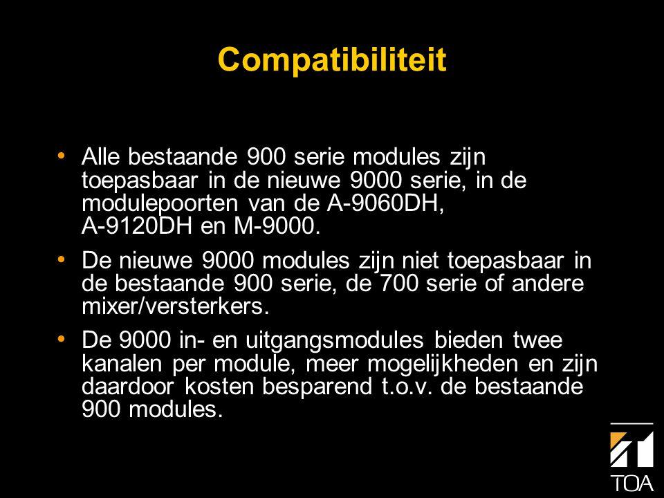 Niveaumeting • Meting van het ingangsniveau is alleen mogelijk met de module D-001T • Meting van het uitgangsniveau is mogelijk voor de twee standaard (lijn) uitgangen en ook mogelijk als extra uitgangen zijn bijge- voegd middels de T-001T uitgangsmodule • De 900 series in- en uitgangsmodules zijn niet voorzien van niveaumeting