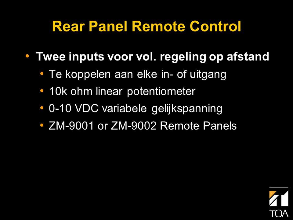 Selectiepanelen • Druktoets toewijzing voor bediening van: • Geheugen activering (Mix mode) Event Activering (Matrix Mode) • Volume + • Volume - • Volumeregeling kan worden toegewezen aan elke in- of uitgang ZM-9001 ZM-9002