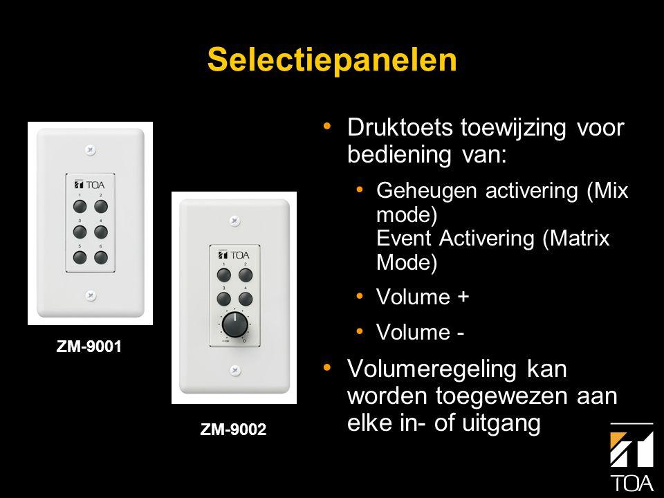 ZM-9001 Selectiepaneel • Zes vrij programmeerbare druktoetsen • Bedrading: 1 ader met afscherming • Max.