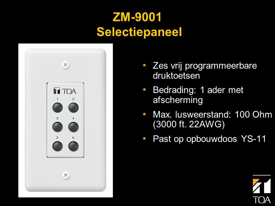 ZM-9002 Selectiepaneel met volumeregelaar • Vier vrij programmeer- bare druktoetsen • Volumeregelaar • Bedrading: 1 ader met afscherming • Max.