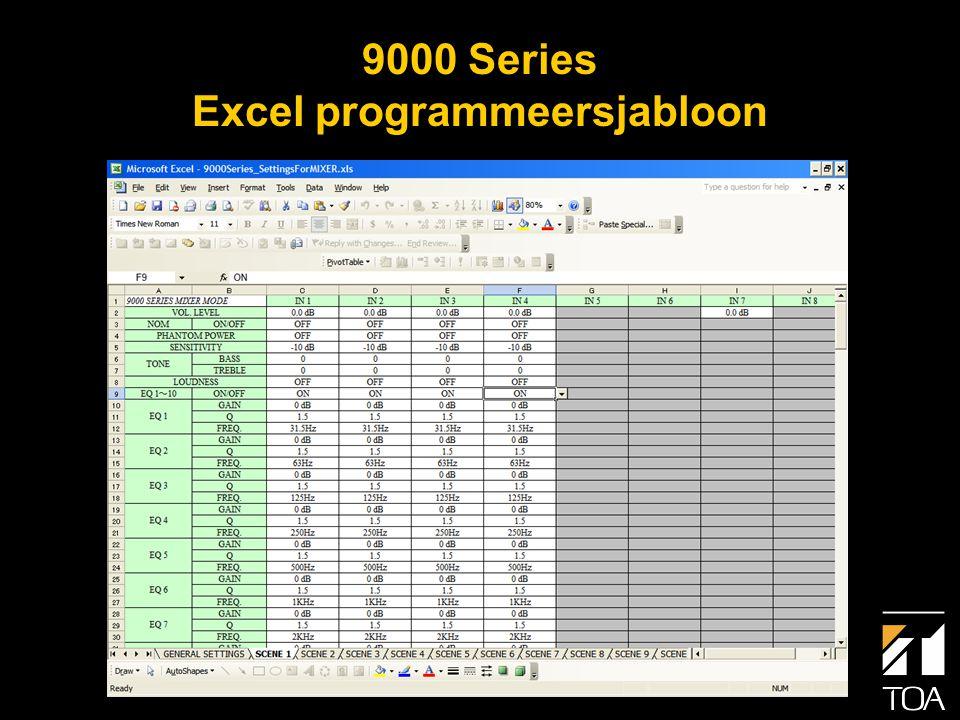 • MS Excel wordt gebruikt voor het programmeren.