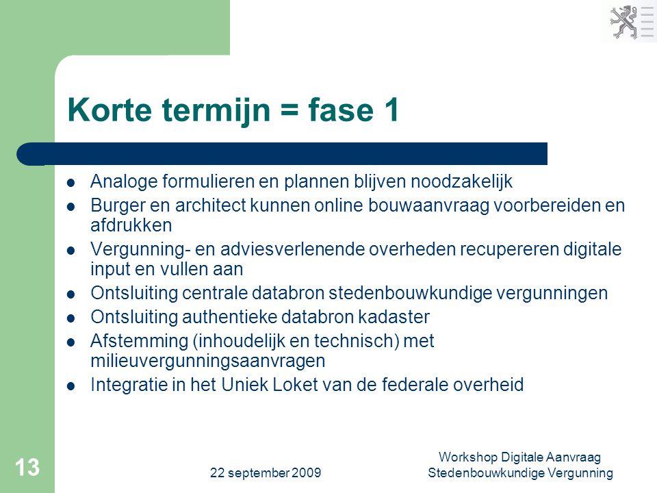 22 september 2009 Workshop Digitale Aanvraag Stedenbouwkundige Vergunning 13 Korte termijn = fase 1  Analoge formulieren en plannen blijven noodzakel