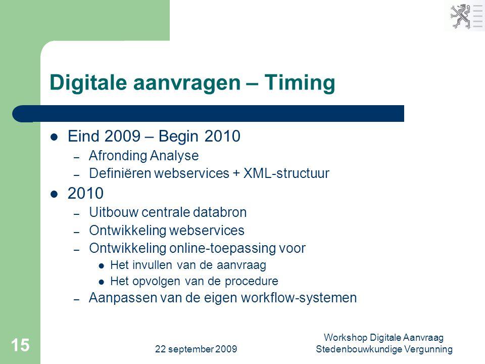 22 september 2009 Workshop Digitale Aanvraag Stedenbouwkundige Vergunning 15 Digitale aanvragen – Timing  Eind 2009 – Begin 2010 – Afronding Analyse