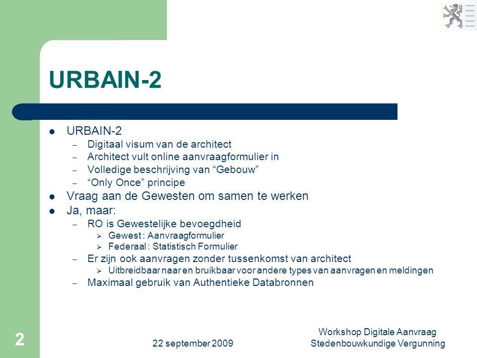 22 september 2009 Workshop Digitale Aanvraag Stedenbouwkundige Vergunning 2 URBAIN-2  URBAIN-2 – Digitaal visum van de architect – Architect vult onl