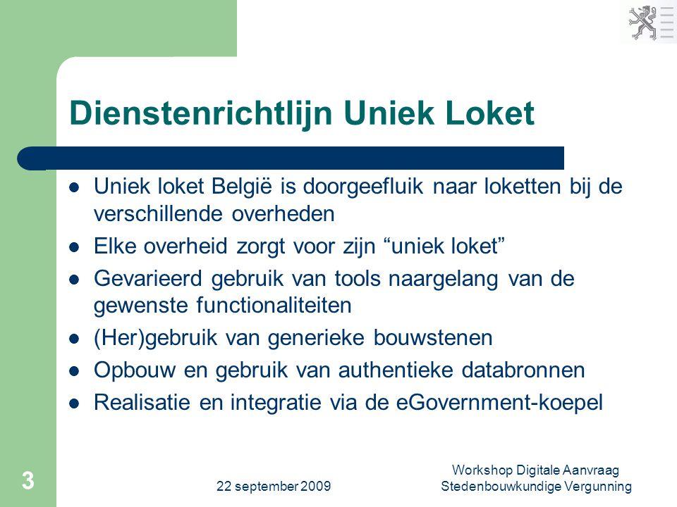 22 september 2009 Workshop Digitale Aanvraag Stedenbouwkundige Vergunning 3 Dienstenrichtlijn Uniek Loket  Uniek loket België is doorgeefluik naar lo