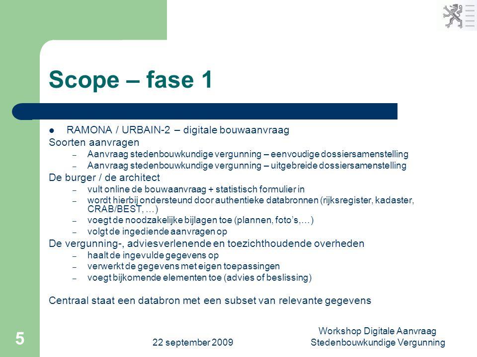 22 september 2009 Workshop Digitale Aanvraag Stedenbouwkundige Vergunning 5 Scope – fase 1  RAMONA / URBAIN-2 – digitale bouwaanvraag Soorten aanvrag