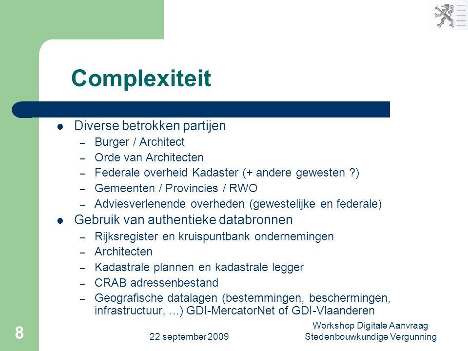 22 september 2009 Workshop Digitale Aanvraag Stedenbouwkundige Vergunning 8 Complexiteit  Diverse betrokken partijen – Burger / Architect – Orde van
