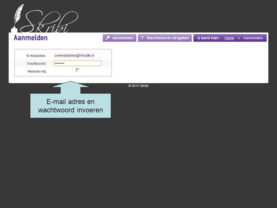 E-mail adres en wachtwoord invoeren klik