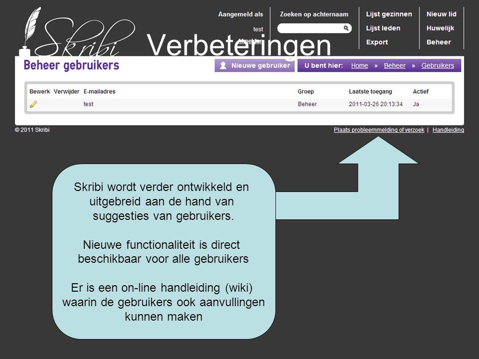 Verbeteringen Skribi wordt verder ontwikkeld en uitgebreid aan de hand van suggesties van gebruikers. Nieuwe functionaliteit is direct beschikbaar voo