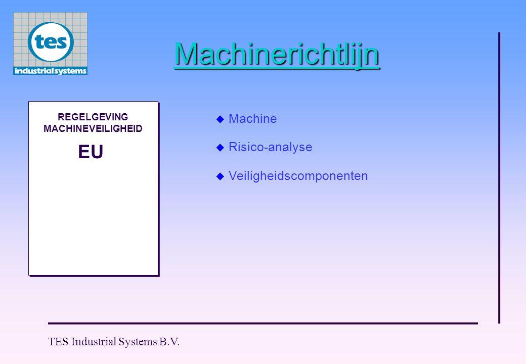 TES Industrial Systems B.V. Machinerichtlijn M M REGELGEVING MACHINEVEILIGHEID EU  Machine  Risico-analyse  Veiligheidscomponenten