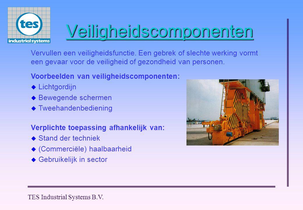 TES Industrial Systems B.V. Veiligheidscomponenten Voorbeelden van veiligheidscomponenten:  Lichtgordijn  Bewegende schermen  Tweehandenbediening V