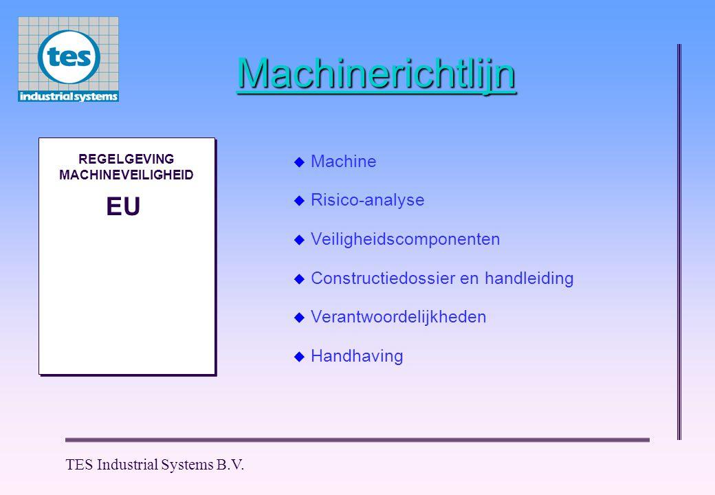 TES Industrial Systems B.V. Machinerichtlijn M M REGELGEVING MACHINEVEILIGHEID EU  Machine  Risico-analyse  Veiligheidscomponenten  Constructiedos