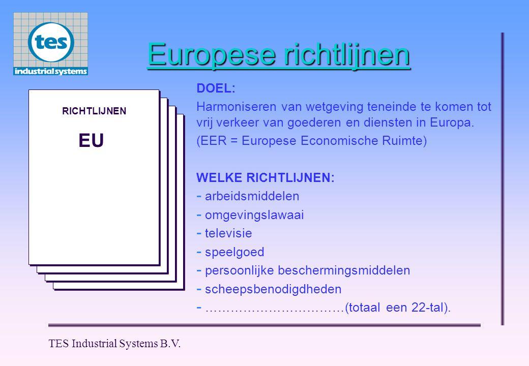 M M M M M M TES Industrial Systems B.V. Europese richtlijnen M M RICHTLIJNEN EU DOEL: Harmoniseren van wetgeving teneinde te komen tot vrij verkeer va