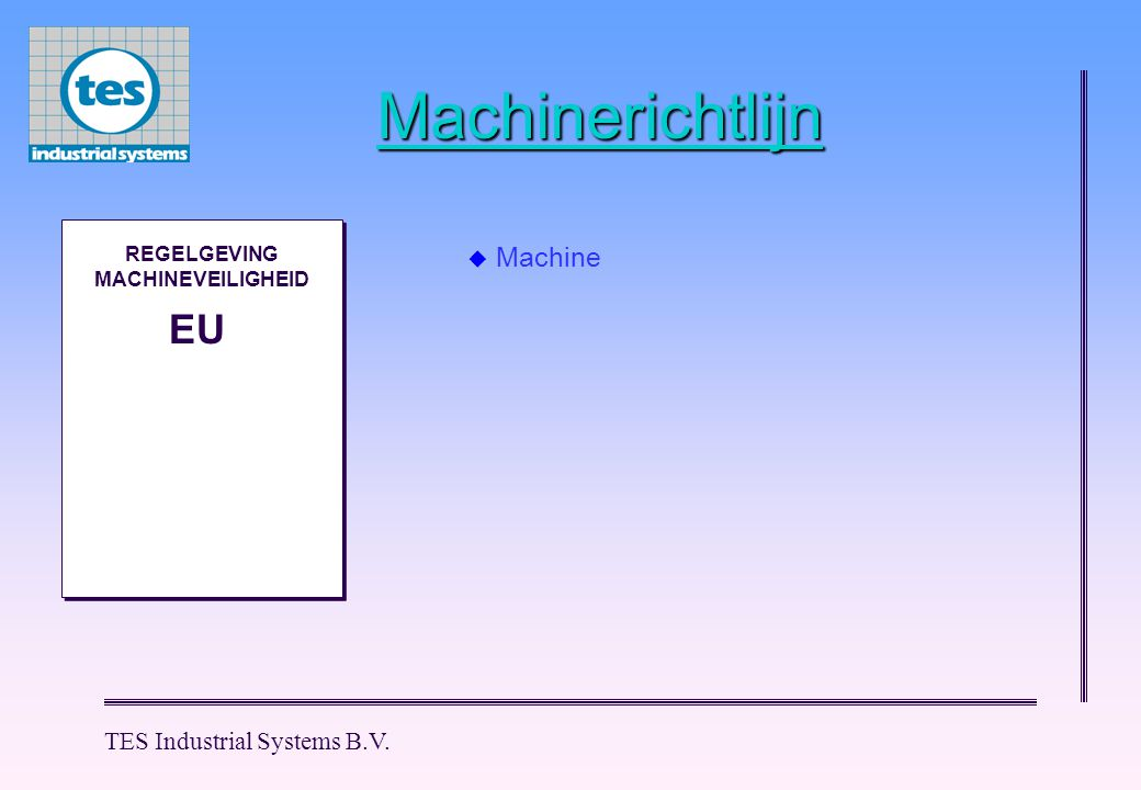 TES Industrial Systems B.V. Machinerichtlijn M M REGELGEVING MACHINEVEILIGHEID EU  Machine