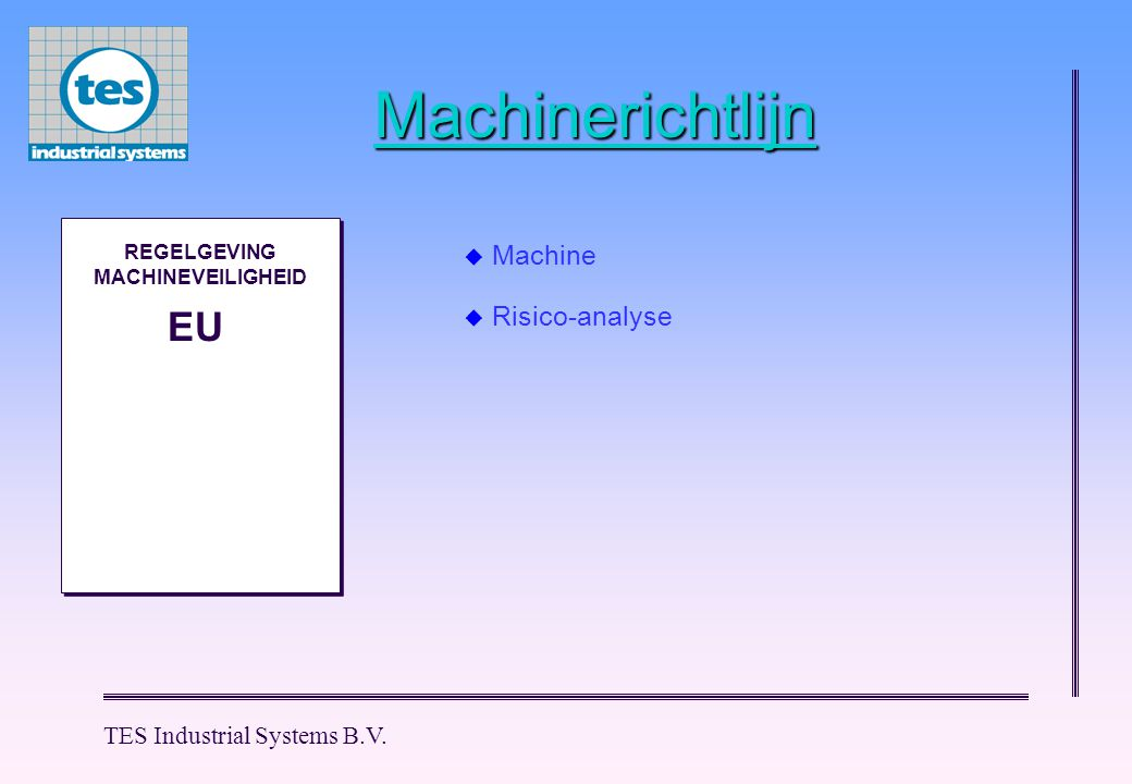 TES Industrial Systems B.V. Machinerichtlijn M M REGELGEVING MACHINEVEILIGHEID EU  Machine  Risico-analyse