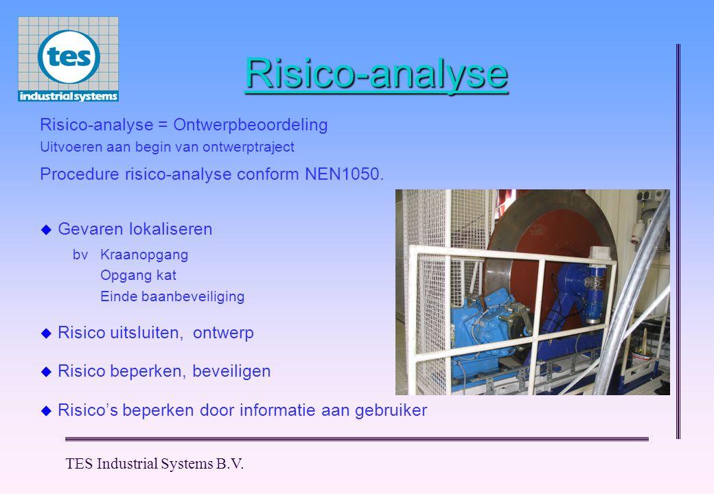 TES Industrial Systems B.V. Risico-analyse  Risico uitsluiten, ontwerp  Risico's beperken door informatie aan gebruiker  Risico beperken, beveilige